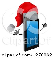 3d Christmas Tablet Computer Character Facing Right And Jumping