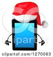 3d Christmas Tablet Computer Character Facing Front And Pouting