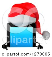 3d Christmas Tablet Computer Character Pointing Down At A Sign