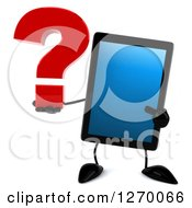 3d Tablet Computer Character Holding And Pointing To A Question Mark