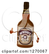 Clipart Of A 3d Whisky Bottle Character Giving A Thumb Up Royalty Free Illustration by Julos