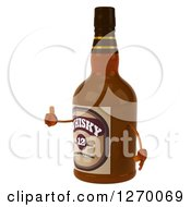 Clipart Of A 3d Whisky Bottle Character Facing Left And Giving A Thumb Up Royalty Free Illustration by Julos