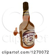 Clipart Of A 3d Whisky Bottle Character Facing Right And Giving A Thumb Up Royalty Free Illustration by Julos