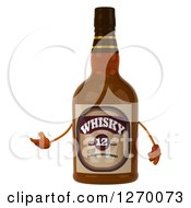 Clipart Of A 3d Whisky Bottle Character Presenting Royalty Free Illustration by Julos
