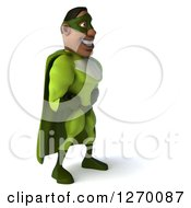 Clipart Of A 3d Black Male Super Hero Facing Right In A Green Suit Royalty Free Illustration