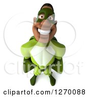 Clipart Of A 3d Black Male Super Hero Smiling Upwards In A Green Suit Royalty Free Illustration