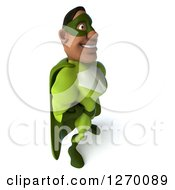 Clipart Of A 3d Black Male Super Hero Posing To The Left In A Green Suit Royalty Free Illustration