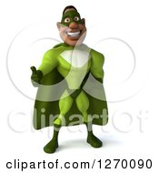 Clipart Of A 3d Black Male Super Hero Giving A Thumb Up In A Green Suit Royalty Free Illustration