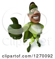 Clipart Of A 3d Black Male Super Hero In A Green Suit Holding A Thumb Up Royalty Free Illustration