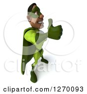 Clipart Of A 3d Black Male Super Hero Giving A Thumb Up And Facing Right In A Green Suit Royalty Free Illustration