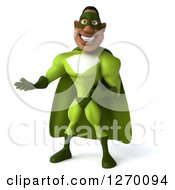Clipart Of A 3d Black Male Super Hero Presenting In A Green Suit Royalty Free Illustration