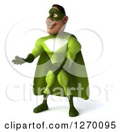 Clipart Of A 3d Black Male Super Hero Presenting With Both Hands In A Green Suit Royalty Free Illustration