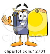 Suitcase Cartoon Character Holding A Yellow Sales Price Tag