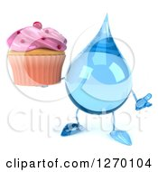 Clipart Of A 3d Water Drop Character Holding A Pink Frosted Cupcake Royalty Free Illustration