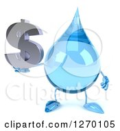 Clipart Of A 3d Water Drop Character Holding A Dollar Symbol Royalty Free Illustration