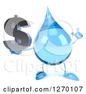 Clipart Of A 3d Water Drop Character Holding Up A Finger And A Dollar Symbol Royalty Free Illustration