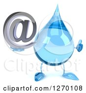 Clipart Of A 3d Water Drop Character Holding A Thumb Up And Arobase Email Symbol Royalty Free Illustration