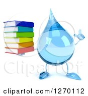 Clipart Of A 3d Water Drop Character Holding Up A Finger And Stack Of Books Royalty Free Illustration