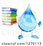 Clipart Of A 3d Water Drop Character Holding A Thumb Down And Stack Of Books Royalty Free Illustration