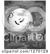 Clipart Of A Grayscale Full Moon And Vampire Bats With Bare Tree Branches Over A Haunted House And Cemetery Royalty Free Vector Illustration