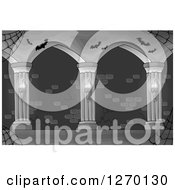 Clipart Of A Grayscale Haunted Hallway With Spider Webs Sconces And Bats Royalty Free Vector Illustration