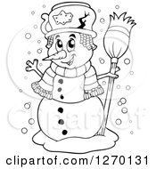 Clipart Of A Black And White Waving Snowman With A Broom And Broken Pot Hat Royalty Free Vector Illustration