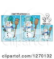 Clipart Of A Snowman Find 10 Differences Game And Solution Royalty Free Vector Illustration