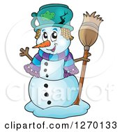 Clipart Of A Happy Waving Snowman With A Broom And Broken Pot Hat Royalty Free Vector Illustration