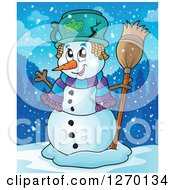 Clipart Of A Happy Waving Snowman With A Broom And Broken Pot Hat At Dusk Royalty Free Vector Illustration