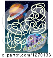 Clipart Of A Happy Alien Flying A UFO Game Royalty Free Vector Illustration by visekart