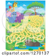 Clipart Of An African Animal Watering Hole And Coral Maze Game Royalty Free Vector Illustration