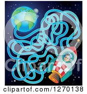 Clipart Of A Boy Astronaut In A Rocket And Earth Maze Game Royalty Free Vector Illustration