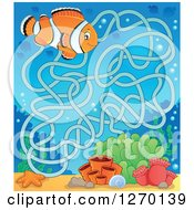 Clipart Of A Clownfish And Coral Maze Game Royalty Free Vector Illustration by visekart