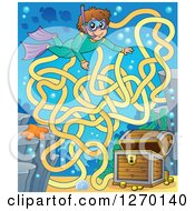 Clipart Of A Snorkel Boy And Sunken Treasure Maze Game Royalty Free Vector Illustration