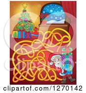 Clipart Of A Christmas Eve And Santa Maze Game Royalty Free Vector Illustration