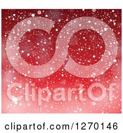 Clipart Of A Red Christmas Snow Background Royalty Free Vector Illustration