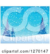 Clipart Of A Blue Christmas Snow Evergreen And Hill Background Royalty Free Vector Illustration