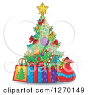 Clipart Of A Cartoon Christmas Tree With Gift Bags A Sack And Present Royalty Free Vector Illustration by visekart