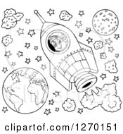 Clipart Of A Black And White Happy Astronaut Flying In A Rocket With Stars And Planets Royalty Free Vector Illustration