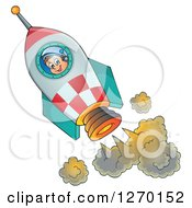 Clipart Of A Happy Astronaut Flying In A Rocket Royalty Free Vector Illustration