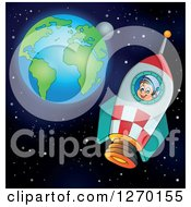 Clipart Of A Happy Astronaut Flying In A Rocket With Earth And The Moon In The Distance Royalty Free Vector Illustration