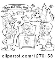 Clipart Of A Black And White Little Red Riding Hood Banner And Characters Royalty Free Vector Illustration by visekart