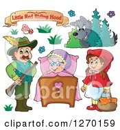 Clipart Of A Little Red Riding Hood Banner And Characters Royalty Free Vector Illustration by visekart