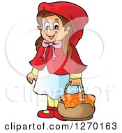 Clipart Of A Happy Little Red Riding Hood With A Basket Royalty Free Vector Illustration by visekart