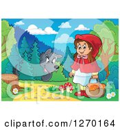 Clipart Of A Big Bad Wolf Watching Little Red Riding Hood In The Woods Royalty Free Vector Illustration by visekart
