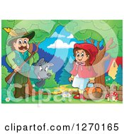 Clipart Of A Wolf Watching A Man And Little Red Riding Hood In The Woods Royalty Free Vector Illustration by visekart