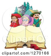 Clipart Of A Little Red Riding Hood Open Book And Characters Royalty Free Vector Illustration