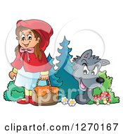 Clipart Of A Big Bad Wolf Watching Little Red Riding Hood From Behind A Tree Royalty Free Vector Illustration by visekart