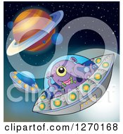 Purple Alien Flying A Ufo In Outer Space