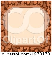 Clipart Of A Frame Over A Brown Leaf Border Royalty Free Vector Illustration